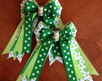 Bows for Horse Shows/Hair Accessory/St. Patrick's Day/Green shamrocks