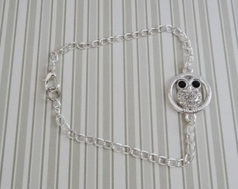 Silver Plated Owl with Rhinestones Bracelet - Ready to Ship