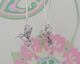 Silver Hummingbird Charm Earrings with Fish or Kidney Hook - Ready to Ship