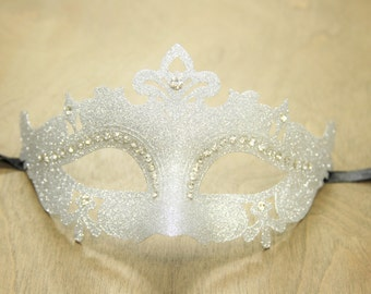Silver Royal Glittery Venetian Masquerade Mask Costume Party Dance GPM001SL Glitter Collection Prom Ball