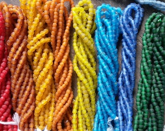 African recycled glass beads, tiny, (7 x 6 mm), 1 strand 65/70 beads, 17 colors