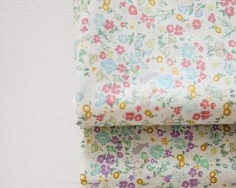 Flower with Cats Pattern Cotton Fabric by Yard - 2 Colors Selection