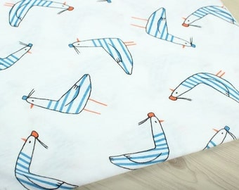 Seagull Cotton Knit Fabric, Slub Texture Fabric by Yard - White Color