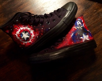 Splatter paint Captain America Converse