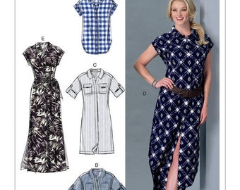 McCall's Sewing Pattern M7387 Misses' Button-Down Top, Tunic, Dresses and Belt