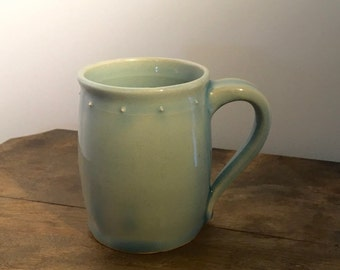 Pottery Mug - Handmade Mug, Stoneware Mug , Teal Mug, Barrel Shape - Ceramic Coffee Mug