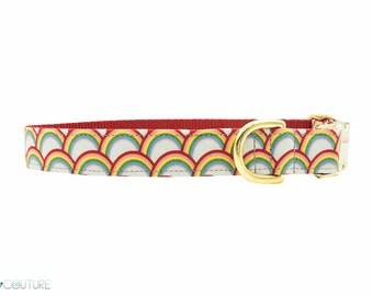 Rainbow Dog Collar, Pride, Gay, Red, Orange, Yellow, Green, Blue, Indigo, Violet; Somewhere Over The Rainbow