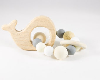 Wooden Toy - Silicone Baby Toy - Teether - Baby Rattle - Baby Teether - Teething Toy - Organic Baby Toy - Infant Toy - Rattle Toy - Baby Toy