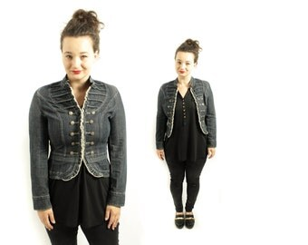 Denim blazer, Vintage Marching Band  Jacket,  Military jacket, Blue Jeans Blazer, womens jacket, Michael Jackson Cardigan  / Small Medium