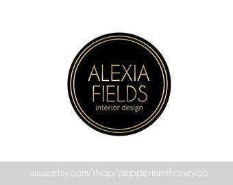 ALEXIA FIELDS, LOGO, Premade, Logo, Design, Photographer, Logo, Small business, Boutique, Blog, Black, Gold, Modern, Chic, Gatsby