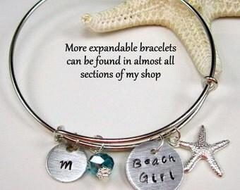 Beach Jewelry Beach Bracelet Expandable Bracelet Custom Hand Stamped Bracelet Beach Girl Bracelet Charm Bracelet Beach Wedding
