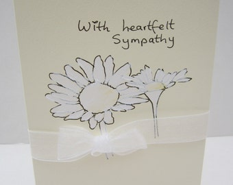 White Daisies, Handpainted card, Sympathy Card, Condolences card, blank, can be personalised, sympathy, condolences, sympathy flowers
