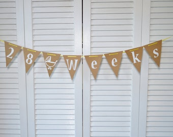 Maternity Photo Prop, Pregnancy Announcement Ideas, Pregnancy Tracker Banner, Baby Shower Flag,  Photo Prop Flag, Bunting Flag, Burlap Flag