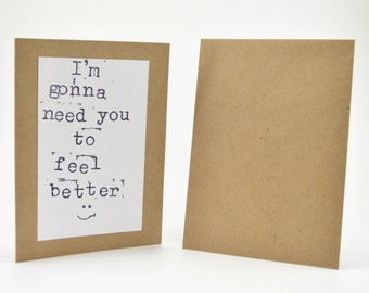 Get Well Soon Card, Feel Better Card, Funny Get Well Soon Card, Get Well Card