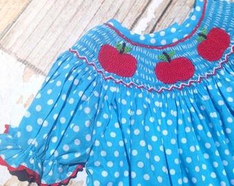Back to School Apple Smocked Dress