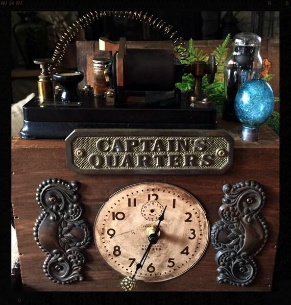 Steampunk mantel table top clock indistrial vintage looking - Steampunk mantle clock ...