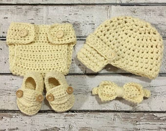 Ready Ship 0-3m Baby Boy Photo Prop Handmade Crochet Diaper Cover, Crochet Diaper Cover, Hat, Loafers and Bow Tie Complete Set * Lt Yellow