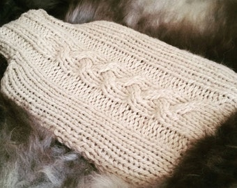 Cable Knit Hot Water Bottle Cover Knitting pattern PDF | Home Decor | Winter Home | The Little Songbird Knitting Co