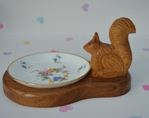 Vintage Squirrel Tray by Jewell and Co Minton Floral Plate Dish Wooden Base Home Display Decor Trinkets Pins Coins Unique Gift!