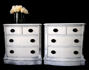 SOLD!!-Pair of gorgeous end tables in antique grey and white!!
