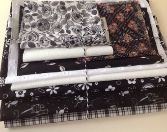 New and vintage fabric scrap pack black and white for small crafts projects quilting patchwork appliqué