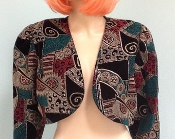 80's Velvet,Crop Jacket,Bolaro, Made by Ms.Choices ~ Size 12