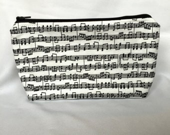 Zipper Pouch Cosmetic Bag - Music Notes