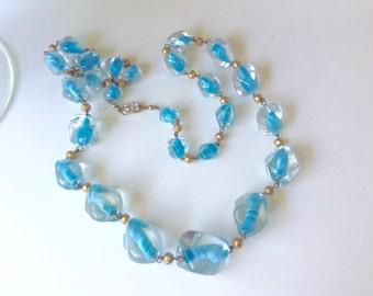 Art Deco Czech Glass bead long necklace