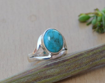 Tibetan Turquoise Ring, Turquoise Gemstone Ring, 925 Sterling Silver Ring, Bezel Set Ring Size 9, Turquoise Gemstone Ring