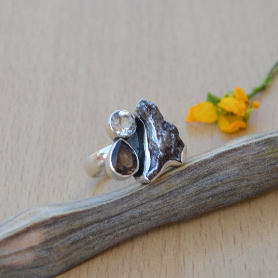 Genuine Sikhote Alin Meteorite, Smoky Quartz, Green Amethyst Gemstone Ring, Solid Sterling Silver Ring, Cocktail Cluster Ring Size 8