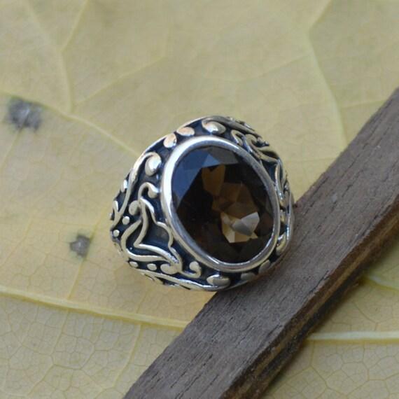 Round Cut Smoky Quartz Gemstone, 925 Sterling Silver, Round Brown Gemstone Ring,  Artisan Bezel Set Ring, Mother's Gift Jewelry Size 7