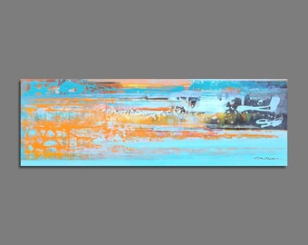 Abstract painting 50x150cm / 19,6x59 inches Blue, Orange, Abstract Art, Painting Original, Modern Art Large