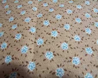 "Vintage fabric brown with tiny blue flowers 36 x 67"" cotton"