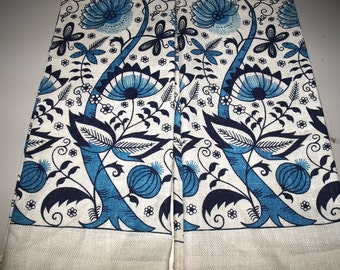 Blue Floral Pure Linen Kitchen Tea Towels Vintage 1950's Lois Long Design New Unused!