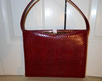 vintage faux snakeskin satchel