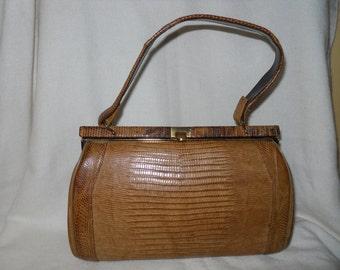Vintage Sterling lizard skin satchel