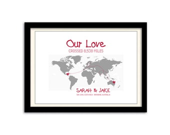 Personalised 'Our Love' Long Distance Relationship World Map Poster Print A3. Fully Customisable