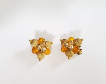 Vintage Cluster Earrings made in W. Germany Golden Yellow