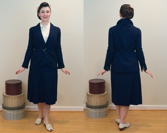 1920s Vintage Suit - RARE Art Deco Blue Wool Three Piece Suit Set -  Wearable - Late '20s, Early '30s Suit with Excellent Tailoring