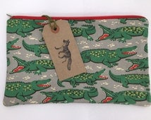 Extra Large make up bag in Cath Kidston Crocodile fabric, handmade and fully lined.