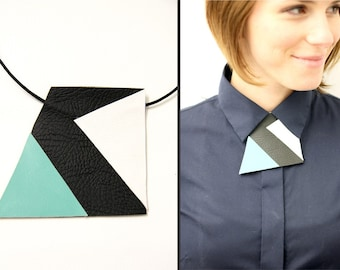 SALE Geometric necklace, unique neckline piece, unisex bow tie alternative, statement necklace, collar accessory, suit accessory