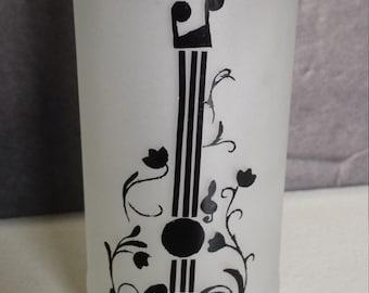 Whimsical Guitar Design on Glass Storage Jar