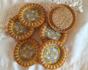 "6 Vintage Yellow Milk Bottle Caps; Golden Guernsey Farm; 2 1/4"""