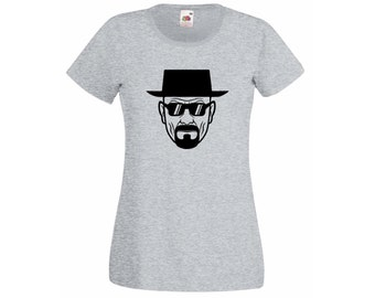 Womens T-Shirt  Breaking Bad Heisenberg with Sunglasses / Serious Walter face white TShirt / Clothing shirt  + Free Random Decal Gift!