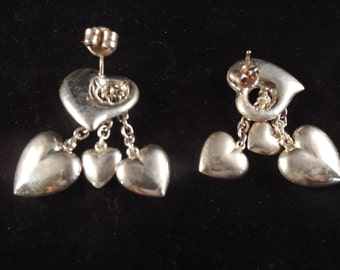 Sterling Silver Heart Dangle Stud Post Back Earrings with floating hearts, Unusual, Valentine's Day, Free Shipping
