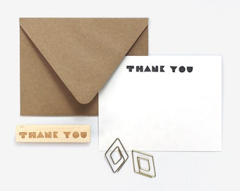 Thank You Geometric Type Rubber Stamp