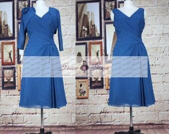 Blue Short Formal Evening Dresses, Short Mother Of The Bride Dress With Jacket, Chiffon Evening Dresses, Short Wedding Guest Dress