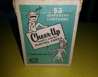 """Vintage CROBEX 52 Deck of """"Cheer Up"""" Plastic Coated Cartoon Playing Cards in Packaging"""