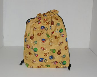 Knitting / Crochet Drawstring Project Bag. mulit colored yarn balls on brown background Pattern. Choose the interior color!
