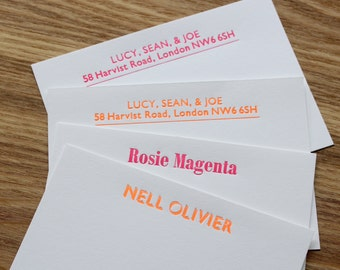 Fluorescent Letterpress Personalised Correspondence Cards